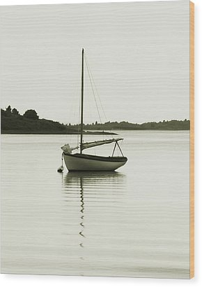 Sloop At Rest  Wood Print by Roupen  Baker