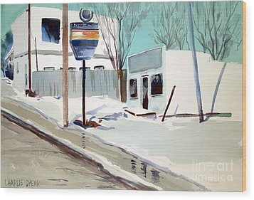 Wood Print featuring the painting Sloppy Slushy Washington Ave. Matted Framed Glassed by Charlie Spear