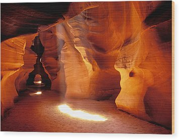 Slot Canyon Warm Light Wood Print by Garry Gay