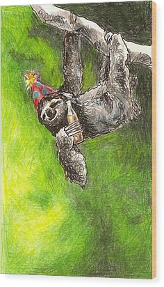 Sloth Birthday Party Wood Print by Steve Asbell
