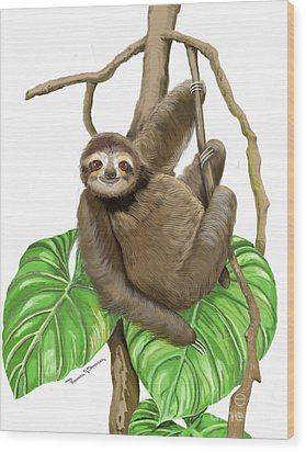 Wood Print featuring the mixed media Hanging Three Toe Sloth  by Thomas J Herring