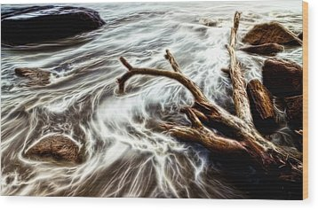 Wood Print featuring the photograph Slow Motion Sea by Cameron Wood