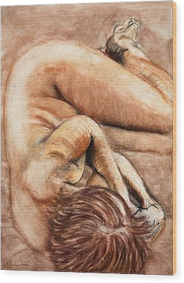 Slumber Pose Wood Print by Kerryn Madsen-Pietsch