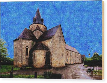 Small Church 1 Wood Print by Jean Bernard Roussilhe