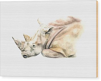 Wood Print featuring the painting Small Colour Rhino by Elizabeth Lock
