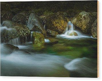 Small Falls In A Big Rush Wood Print