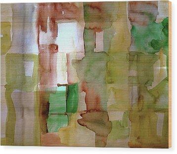 Small Grid In Earth Tones Wood Print by Joan Norris