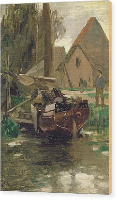 Small Harbor With A Boat  Wood Print by Thomas Ludwig Herbst