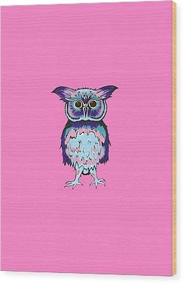 Small Owl Pink Wood Print