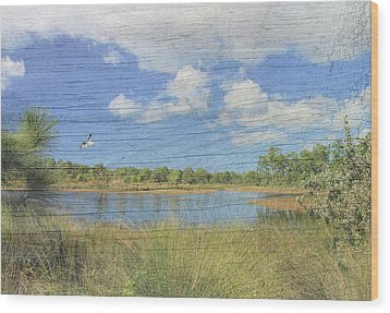 Small Pond With Weathered Wood Wood Print by Rosalie Scanlon