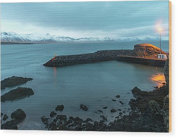 Wood Print featuring the photograph Small Port Near Snaefellsjokull Mountain, Iceland by Dubi Roman