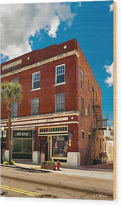 Small Town Shops Wood Print by Christopher Holmes