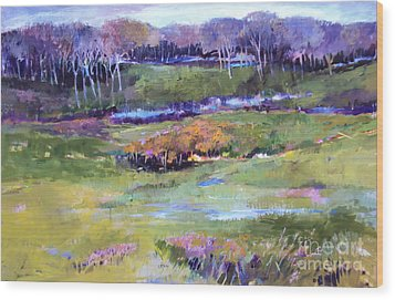 Wood Print featuring the painting Small Valley by Diane Ursin