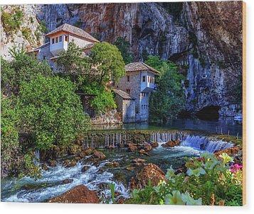 Small Village Blagaj On Buna Waterfall, Bosnia And Herzegovina Wood Print by Elenarts - Elena Duvernay photo