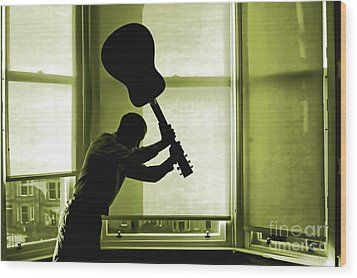 Wood Print featuring the photograph Smashing Up A Guitar by Craig B