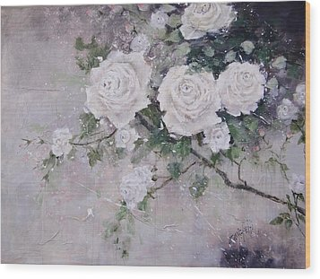Wood Print featuring the painting Smell The Roses  by Laura Lee Zanghetti