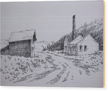 Smelter Ruins Glendale Ghost Town Montana Wood Print by Kevin Heaney