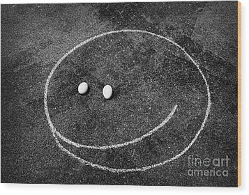 Wood Print featuring the photograph Smiley - Chalk N Eggs by Aimelle