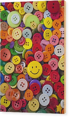 Smiley Face Button Wood Print by Garry Gay