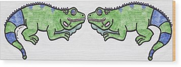 Wood Print featuring the drawing Smiley Iguanas by Yshua The Painter