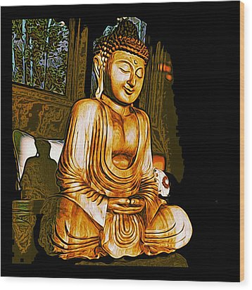 Smiling Buddha Wood Print by Paul Cutright