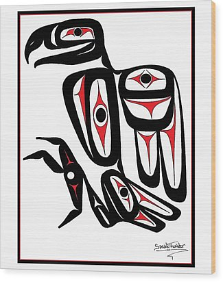 Smiling Eagle Red Wood Print by Speakthunder Berry