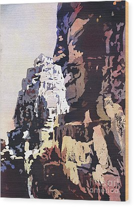 Wood Print featuring the painting Smiling Faces- Bayon Temple, Cambodia by Ryan Fox