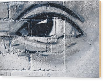Wood Print featuring the painting Smiling Graffiti Eye by Yurix Sardinelly