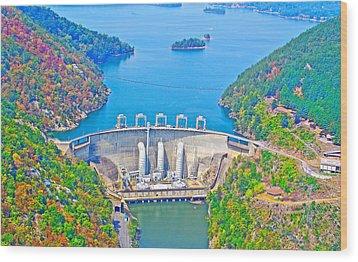 Smith Mountain Lake Dam Wood Print by The American Shutterbug Society