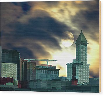 Wood Print featuring the photograph Smithtower Moon by Dale Stillman