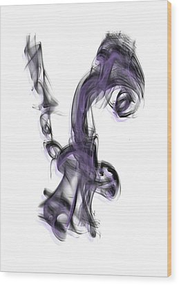 Smoke 01 Purple Wood Print