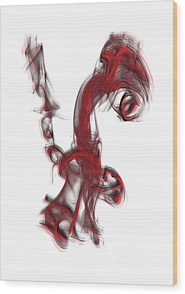 Smoke 01 Red Wood Print