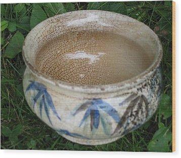 Smoke-fired Bamboo Leaves Bowl Wood Print by Julia Van Dine