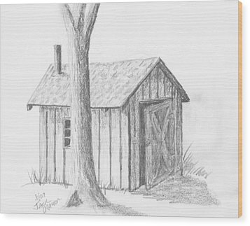 Wood Print featuring the drawing Smoke House by Jack G  Brauer