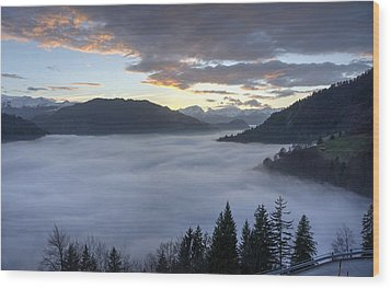 Wood Print featuring the photograph Smoke In The Valley Fire In The Sky by Peter Thoeny