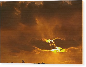 Smoke On The Horizon Wood Print by DigiArt Diaries by Vicky B Fuller