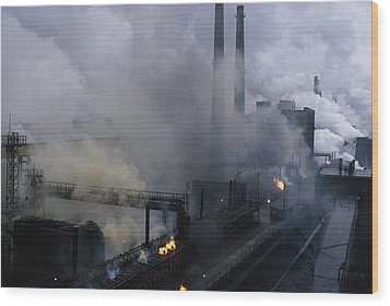 Smoke Spews From The Coke-production Wood Print by James L Stanfield