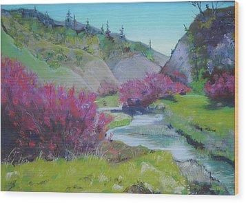Smoke Trees By The Creek Wood Print by Dan Scannell