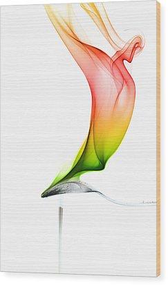 Wood Print featuring the photograph smoke X by Joerg Lingnau