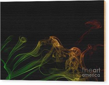 Wood Print featuring the photograph smoke XXXI by Joerg Lingnau