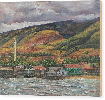 Wood Print featuring the painting Smokestack Lahaina Maui by Darice Machel McGuire