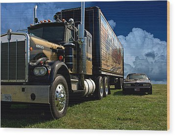 Smokey And The Bandit Tribute 1973 Kenworth W900 Black And Gold Semi Truck And The Bandit Transam Wood Print by Tim McCullough
