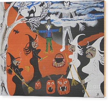 Smokey Halloween Wood Print by Jeffrey Koss