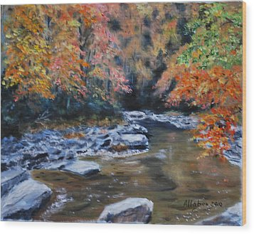 Smokey Mountains Autumn Wood Print by Stanton D Allaben