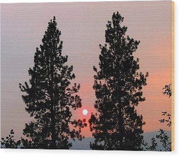 Smokey Okanagan Sunset Wood Print by Will Borden