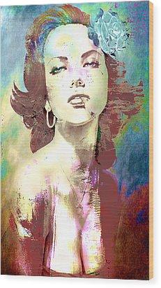 Wood Print featuring the digital art Smoking Chick by Greg Sharpe
