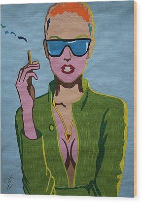 Smoking Woman Sunglasses  Wood Print