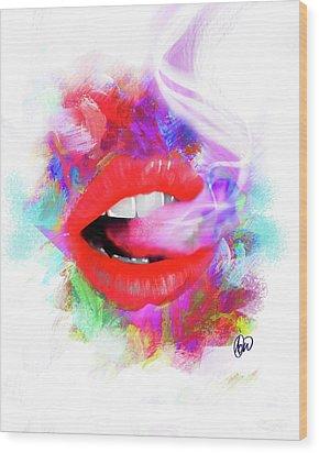 Smoking Lips Wood Print