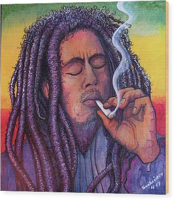 Wood Print featuring the painting Smoking Marley by David Sockrider