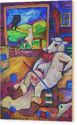 Wood Print featuring the painting Smoko At The Sheep Shearing Shed by Dianne  Connolly